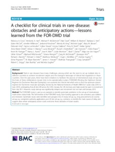 A Checklist For Clinical Trials In Rare Disease Obstacles And